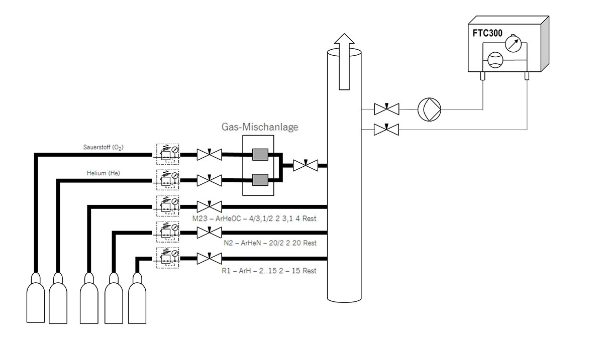 Monitoring the connection of mixed gases for correct selectionl